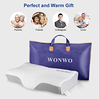 Wonwo Memory Foam Pillow, Orthopedic Pillow, Cervical Contour Bed Pillows for Sleeping, Neck Support Pillow for Neck ...