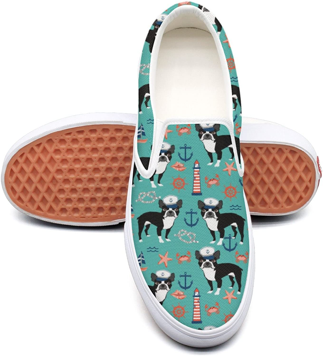 SEERTED Nautical Boston Terrier Dog Light House Casual Sneakers for Women Wide Width