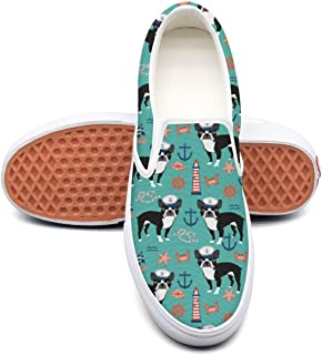 Nautical Boston Terrier Dog Light House Casual Sneakers for Women Wide Width