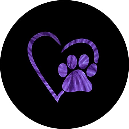 Select tire Size//Back up Camera in MENU Custom Sized to Any Make Model 30x9.50x15 TIRE COVER CENTRAL Paws Love Purple Tie Dye Heart Spare Tire Cover