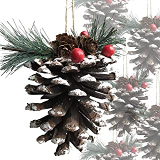 BANBERRY DESIGNS Huge Christmas Pine Cones - Set of 12 Very Large Snow Covered Pine Cone with Berries and Greenery