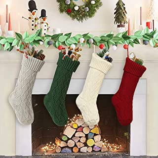 FanShou Christmas Stockings 4 PC Set Cute Xmas Stockings Decoration Cable Knitted Christmas Hanging Stockings Holiday Decorations Gifts Party Accessory 14