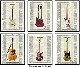 Guitar Dictionary Art Print Set, Vintage Upcycled Wall Art Posters - Modern Chic Home Decor - Gift for Musicians, Hendrix, Van Halen, Springsteen, Lennon, Page, Clapton, Music Fans - Six 8x10 Unframed
