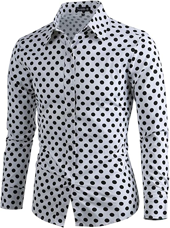 uxcell Camisa De Lunares para Hombres Mangas Largas Ajuste Delgado