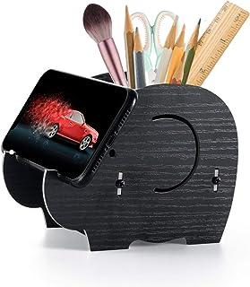 Desk Supplies Organizer,Roiroiko Wooden Cute Elephant Pencil Pen Holder,MultiFunction Removable Pen Cup Office Accessories...