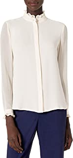 ANNE KLEIN Women's Ruffled Neck and Cuff Button Down Blouse