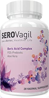 Serovagil Boric Acid Vaginal Suppositories Complex with FOS-Prebiotic (Probiotics Enhancer) & Aloe Vera (800mg Suppository) - pH Balance for Women - No More Odor, Itch - Made in USA.