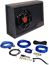 "Rockville RWS10CA Slim 1000w 10"" Powered Loaded Car Subwoofer Enclosure+Wire Kit"