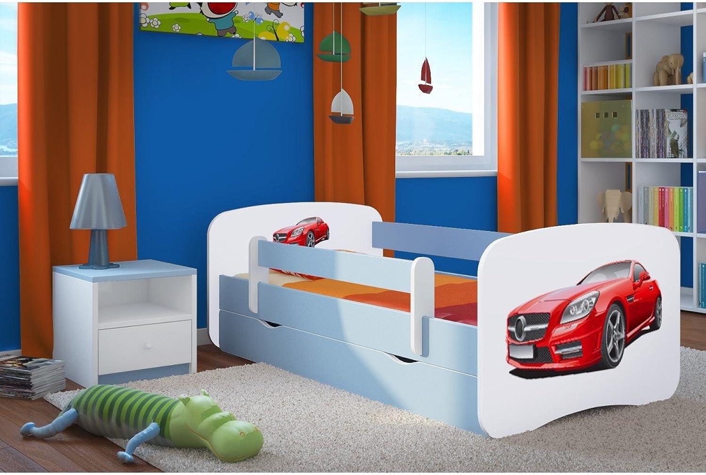 CARELLIA 'Kinderbett Mercedes 80x 180cm mit Barriere Sicherheitsschuhe + Lattenrost + Schubladen + Matratze Offert.–Blau
