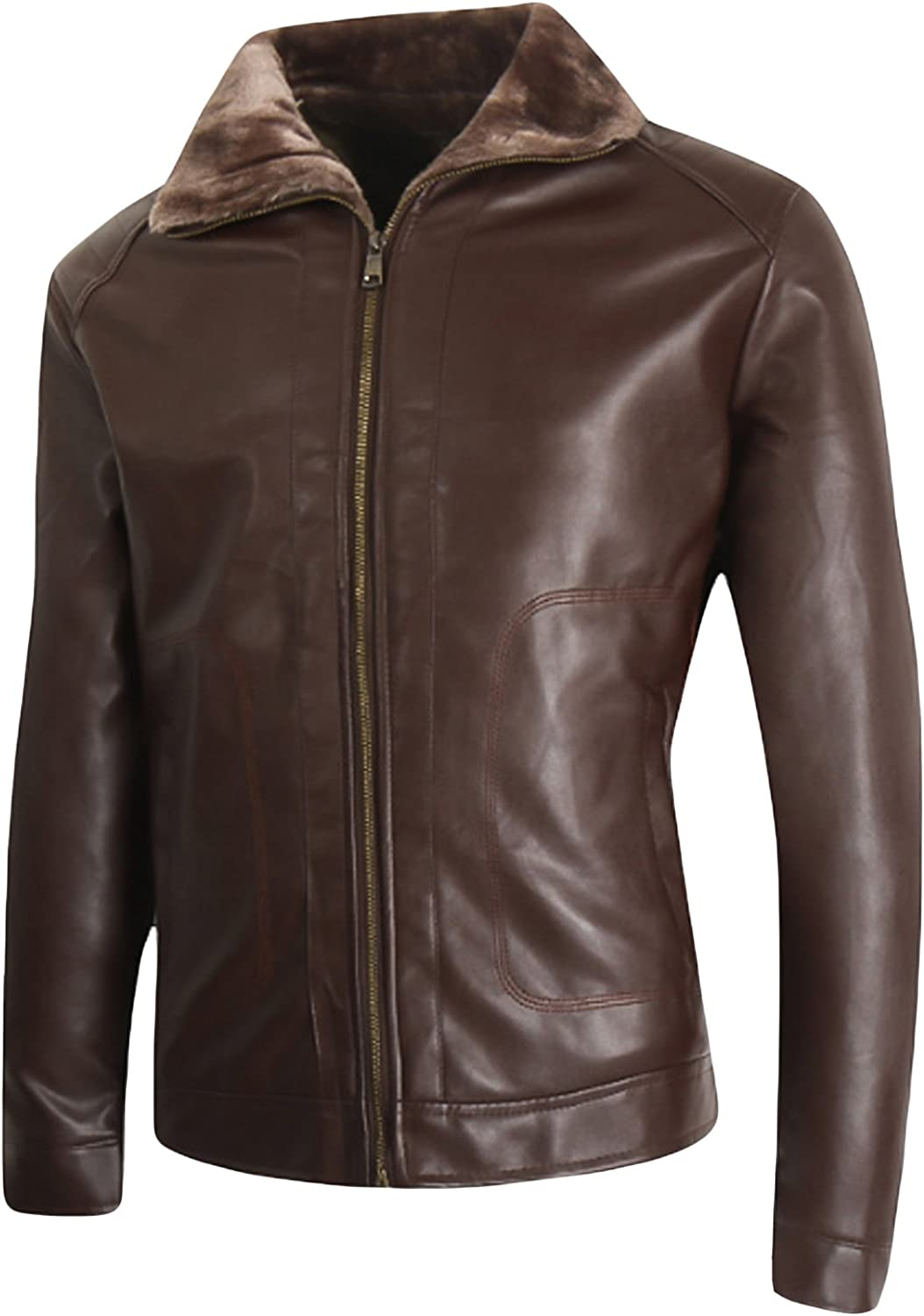 Letuwj Mens Thickened Jacket Faux Leather Coat with Stand Collar