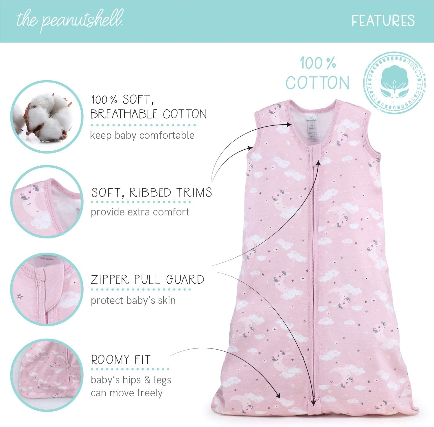 Small//Medium The Peanutshell Wearable Blanket Sleep Sack for Baby Girls Pink Moon /& Celestial Sizes up to 12 Months