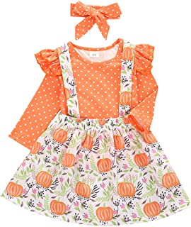3PCS Toddler Baby Girl Halloween Outfit Polka Dot Ruffle Long Sleeve T-Shirt Top+Floral Pumpkin Suspender Skirt+Headband