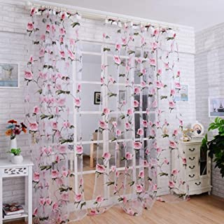 DZT1968 1PC White Printed Flower Lace Chiffon Tulle Sheer Window Treatments Door Screen Curtain (80 inch x 40 inch) (Pink)