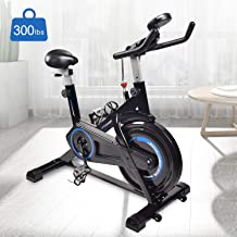 Indoor Cycling Bike Trainer Exercise Spin Bicycle Stationary Bikes with Monitor Display for 5.1-6.5 Feet People , Black