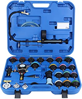 Mostbest 28PCS Universal Radiator Pressure Tester Leak Checker Vacuum Type Cooling System Automotive Radiator Pressure Test Kit Purge and Refill Kit Set w/Carrying Case