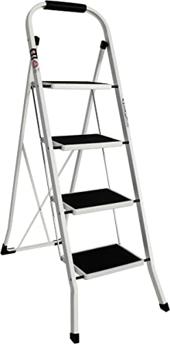 popular EFINE 4 Step Ladder, Slim wholesale Folding Design Step discount Stool, High Grade Steel with Smooth Powder Coating, Sturdy and Lightwight, Holding up to 330lbs. (White) outlet online sale