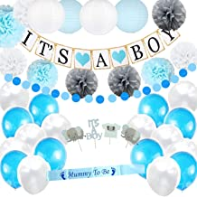 Boy Baby Shower Decorations Set | It's a Boy Banner | Party Paper Lanterns | Blue White & Silver Flower Tissue Pom Poms | Mommy To Be Sash | Balloons All in | Circle Garland | Cupcake Toppers One Full Set Ready to Use