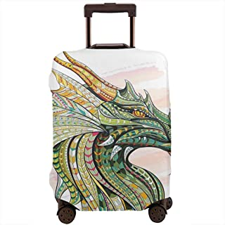 Travel Luggage Cover,Head Of Legend Dragon With Ethnic African Ornate Effects On Grunge Backdrop Mythical Suitcase Protector