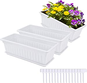 Hopestar 3 Packs 17 inches Window Boxes Planters White Color Plastic Flower Box Vegetable Planter for Windowsill, Patio, Garden, with 15 Pcs Plant Labels