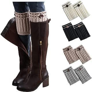 Womens Short Boots Socks Crochet Knitted Boot Cuffs Toppers Leg Warmers Socks