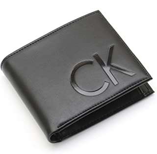محفظة كلاسيكية الطابع مع شعار كبير بالاحرف الاولى من اسم العلامة التجارية من الامام للرجال من كالفين كلاين- 2725613831350