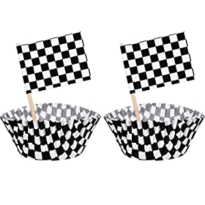 100 Pieces Checkered Flag Race Flag Cupcake Topper Picks and 100 Pieces Race Flag Cupcake Wrapper Liner Paper Baking Cup Covers for Cake Decorations (Black and White)