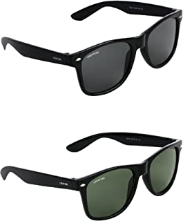 CREATURE Wayfarer Unisex Sunglasses Combo with UV Protection (Black and Green, Free Size)