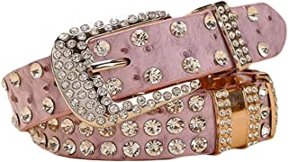 Ayli Womens Rhinestone Bling and Ostrich Skin Embossed Leather Jean Belt