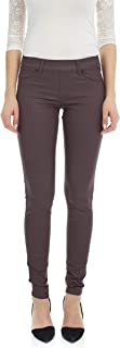 Suko Women's Pull On Stretchy Ponte Knit Faux Leather Leggings