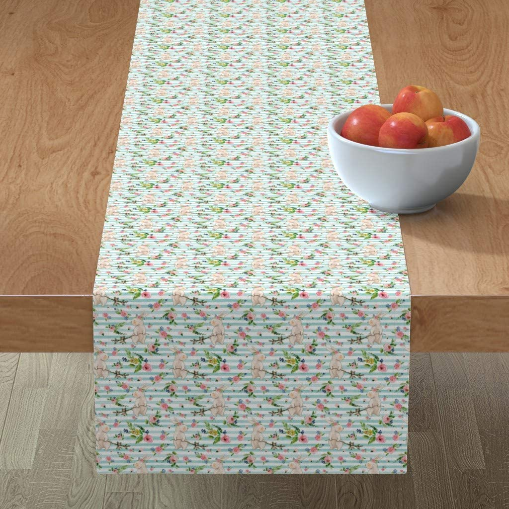 Roostery Spoonflower Tablerunner Mint Stripe Bunnies Be super Ranking TOP10 welcome Watercolor