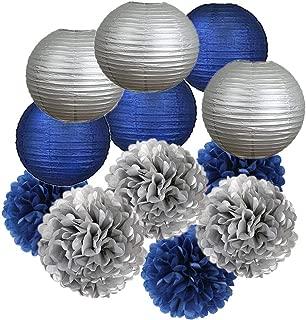 12PCS Navy Blue Silver Party Decoration Tissue Pom Poms Paper Lanterns Boys Birthday Party Set,Boy Baby Shower, Father Day Bachelor Party,Wedding, Baby Shower,Bridal Shower,Room Decoration