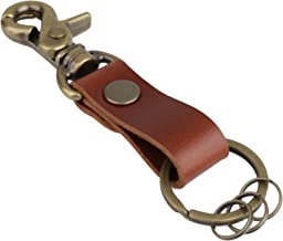 leather brass key fob
