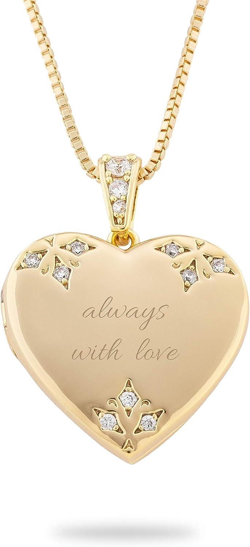 Gold Tone Pave Heart Locket (Free Customization) - Things Remembered