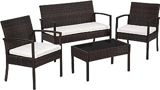 TecTake Conjunto muebles de Jardín en Poly Ratan Sintetico
