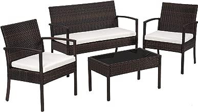 TecTake Conjunto muebles de Jardín en Poly Ratan Sintetico - negro 4 plazas, 2 sillones, 1 mesa baja, 1 banco - disponible en diferentes colores - (Negro/Marrón)