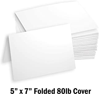 "Hamilco White Cardstock Thick Paper - 5 x 7"" Blank Folded Cards - Greeting Invitations Stationary - Heavy weight 80 lb Card Stock for Printer - 100 Pack"