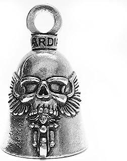Guardian Bell GBGHST Ghost Rider Totenkopf auf Motorrad Biker Luck Gremlin Reitglocke oder Schlüsselanhänger, Silber, 3,8 cm