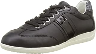 GEOX D Myria A Womens Leather Trainers/Shoes - Black