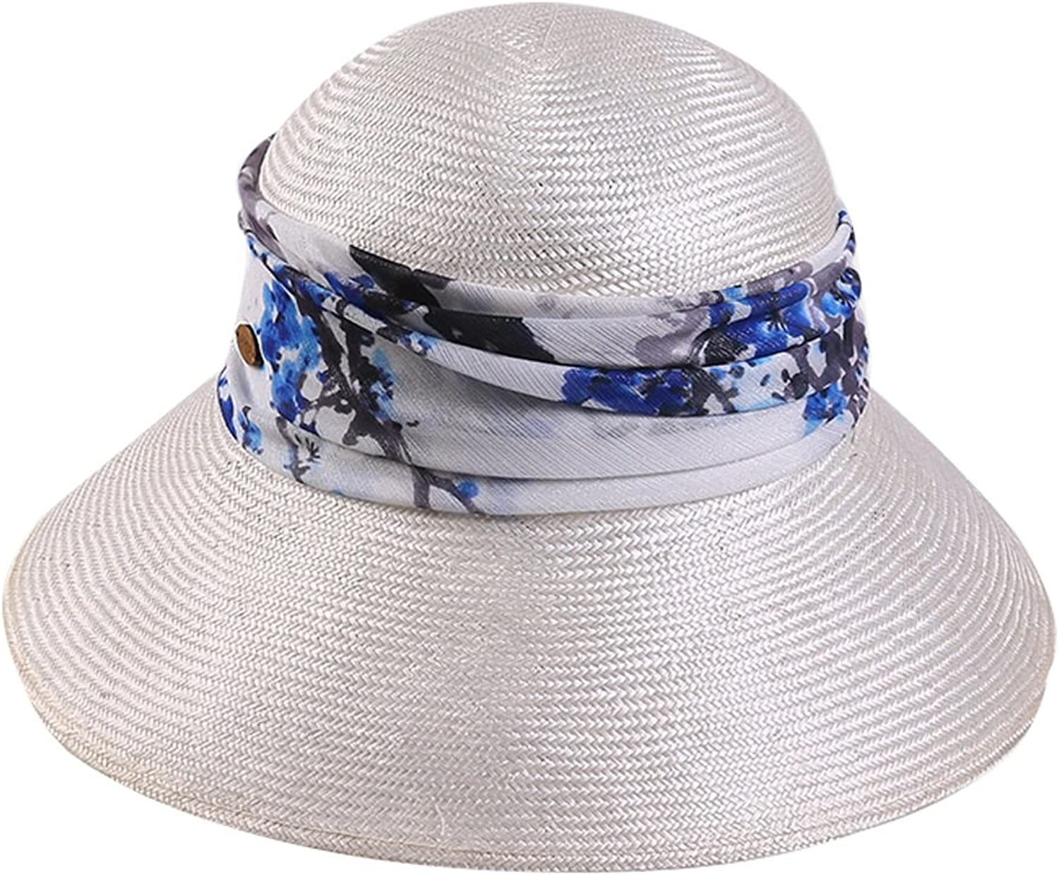 Hat Female Summer Seaside Beach Visor Foldable Printed Decorative Hat Casual Shopping Cool Hat (color   White)