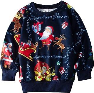 Haokaini Sweat à Capuche de Noël pour Enfants Père Noël Renne Pull à Col Rond Sweat de Noël