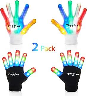 Theefun Led Handschuhe für Kinder, Finger Light Up Flashing Handschuhe mit Multicolor Skeleton LED Handschuhen für Halloween, Tanzkostüme, Kinderspiele, Light-up Party. 2 Paar, Klein