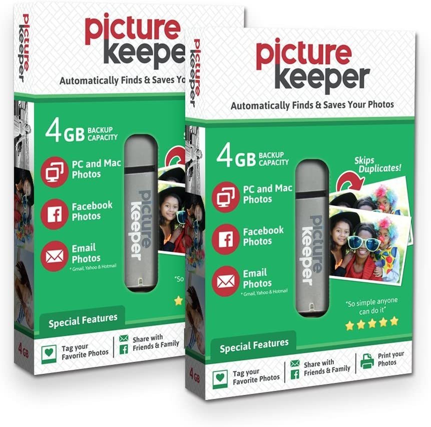 Smart USB Flash Drive 4GB - Picture Keeper Desktop Photo Backup Device for PC and MAC Laptops and Computers (2-Pack Bundle)