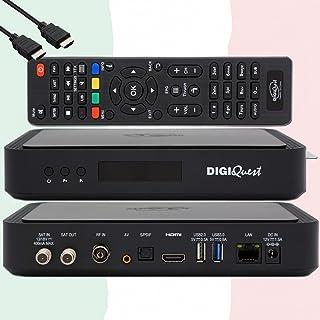 TiVuSat Kaart 4K UHD + DIGIQuest Q60 Combo Receiver 4K H.265 S2+T2 HEVC Set-Top Box, gecertificeerde TiVuSat Receiver met ...