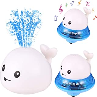 Popuppe Juguete de baño para bebé, juguete de agua, con spray para inducción, juguete flotante con luz y música, 2 en 1, j...