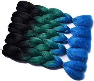 5 Packs Ombre Braiding Hair Extensions Three Tone Colored Jumbo Braids Bulk Hair Black Green Blue Purple Pink (Black Green Blue)