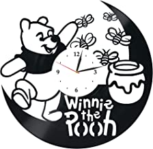 Levescale : Winnie The Pooh Vinyl Wall Clock - Vintage Style for Girl, boy - Decoration for Bedroom, Kids Room - Boo to You Too - Tigger's Honey Hunt - Poo Bear - Day for Eeyore