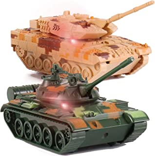 Liberty Imports T-55 Diecast Metal Military Pullback Model Battle Tanks with Lights and Sound (2-Pack)