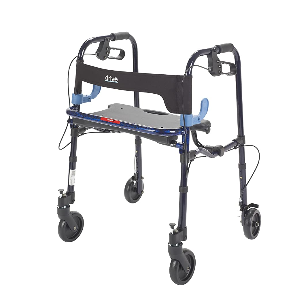 Drive Medical Deluxe Clever Lite Rollator Junior Walker with Casters, Flame Blue, 5 Inch