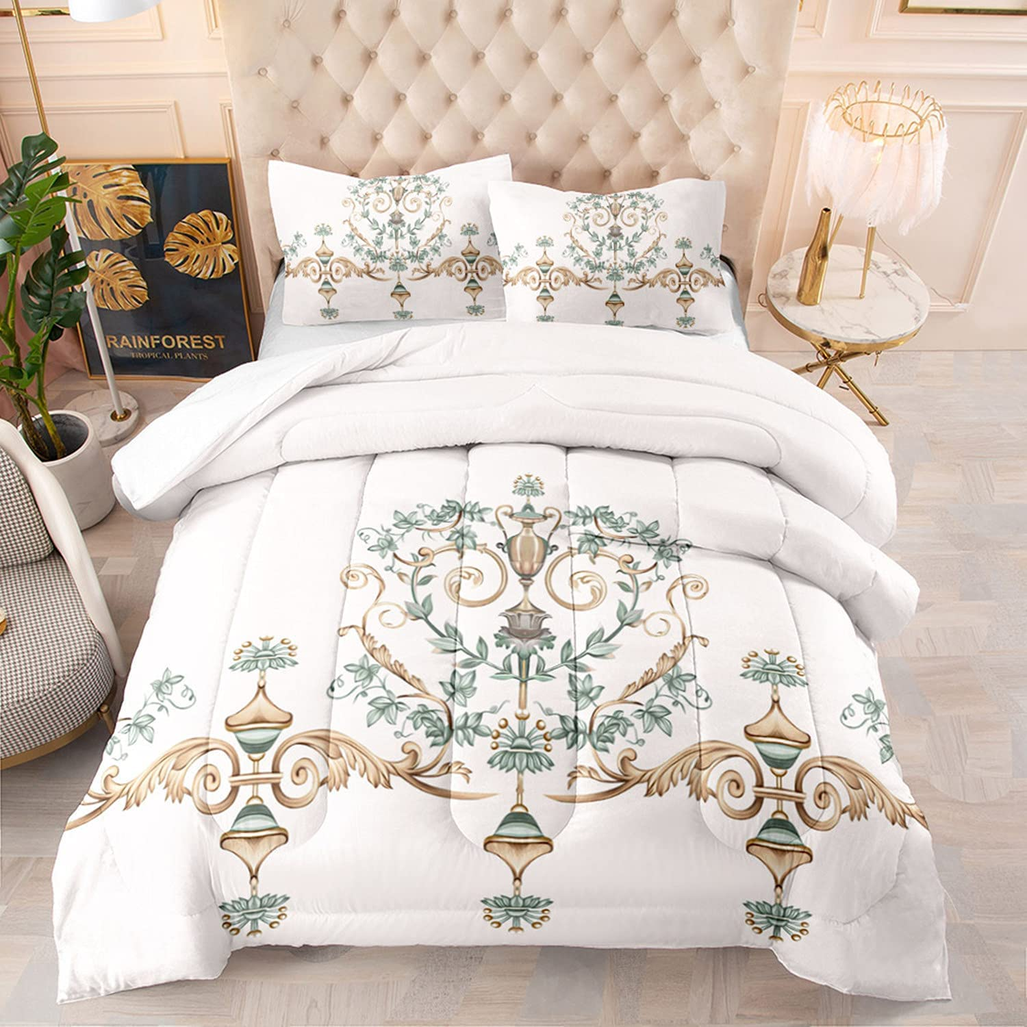 kxry European Style Arabesque Lantern Limited time Ranking TOP1 cheap sale Wh Twin Set Comforter Size