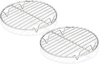 TeamFar Round Cooling Rack Set of 2, 7½ Inch Round Rack Baking Steaming Roasting Rack Set Stainless Steel, Healthy & Dishwasher Safe, Mirror Finish & Rust Free
